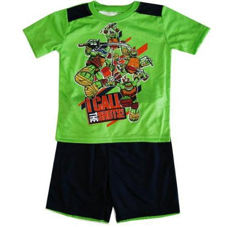 TNT Ninja Turtles Little Boys Green Short Sleeve 2 Pcs Basketball Shorts Set 4-7 (Ninja Turtle T Shirt)