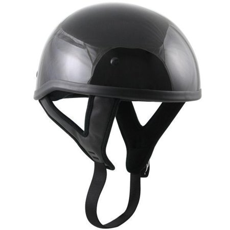 Outlaw Helmets Outlaw T68 DOT Glossy Black Motorcycle Skull Cap Half Helmet Black X-Small ()