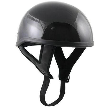 Outlaw Helmets Outlaw T68 DOT Glossy Black Motorcycle Skull Cap Half Helmet Black X-Small