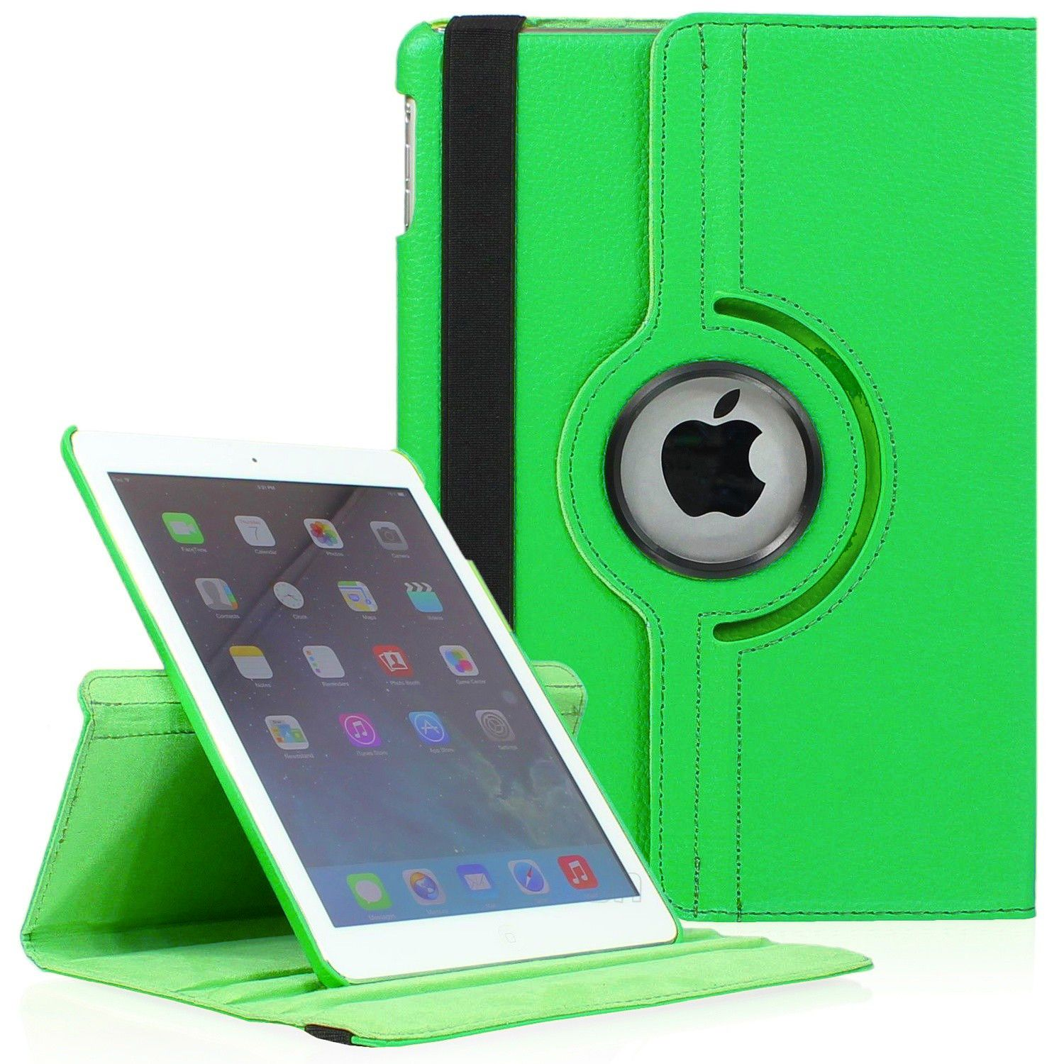 iPad Mini 4 PU Leather Case by KIQ 360 Rotating Swivel Cover Multi-View Stand (Black)