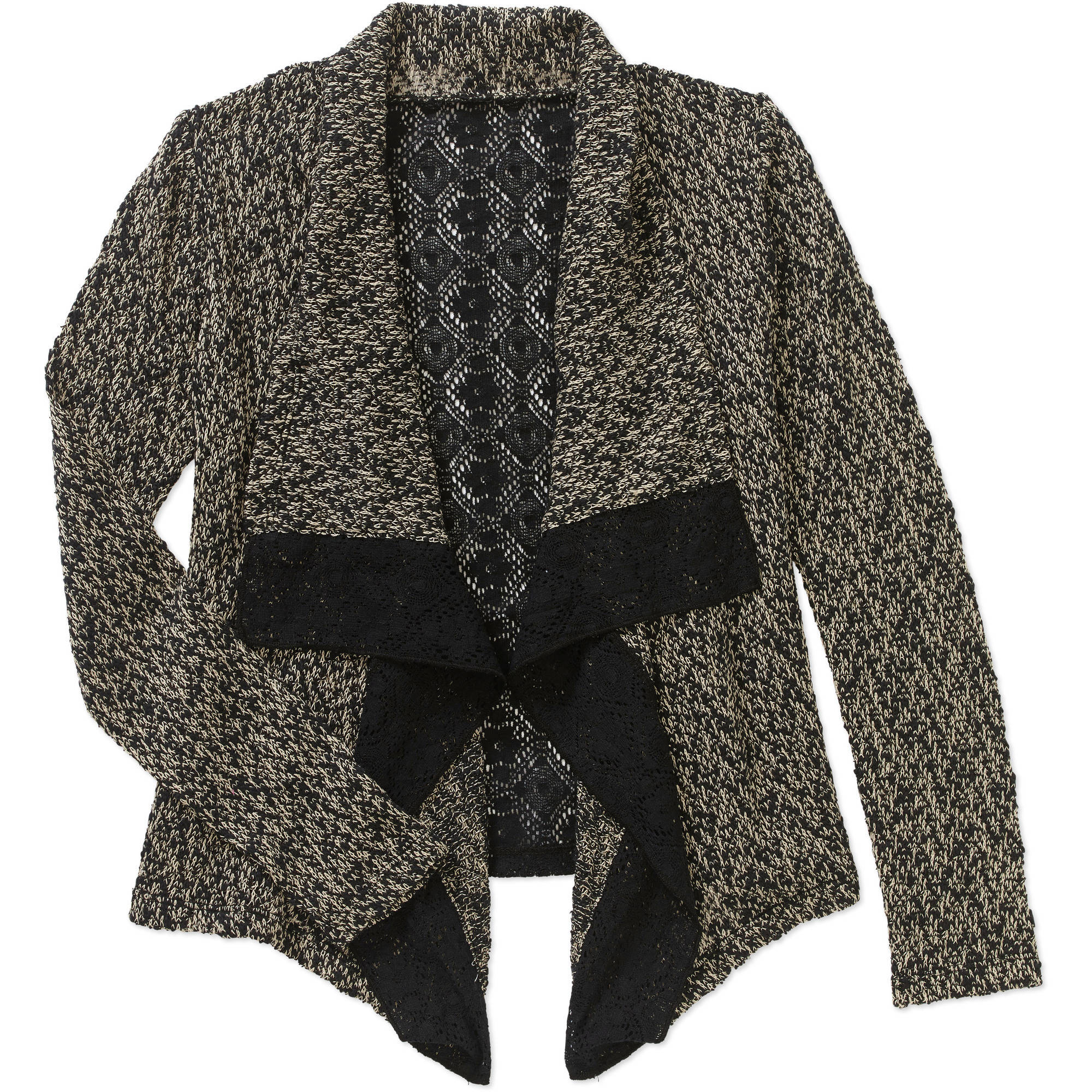 Girls Cardigan with Lace Trim and Lace Panel