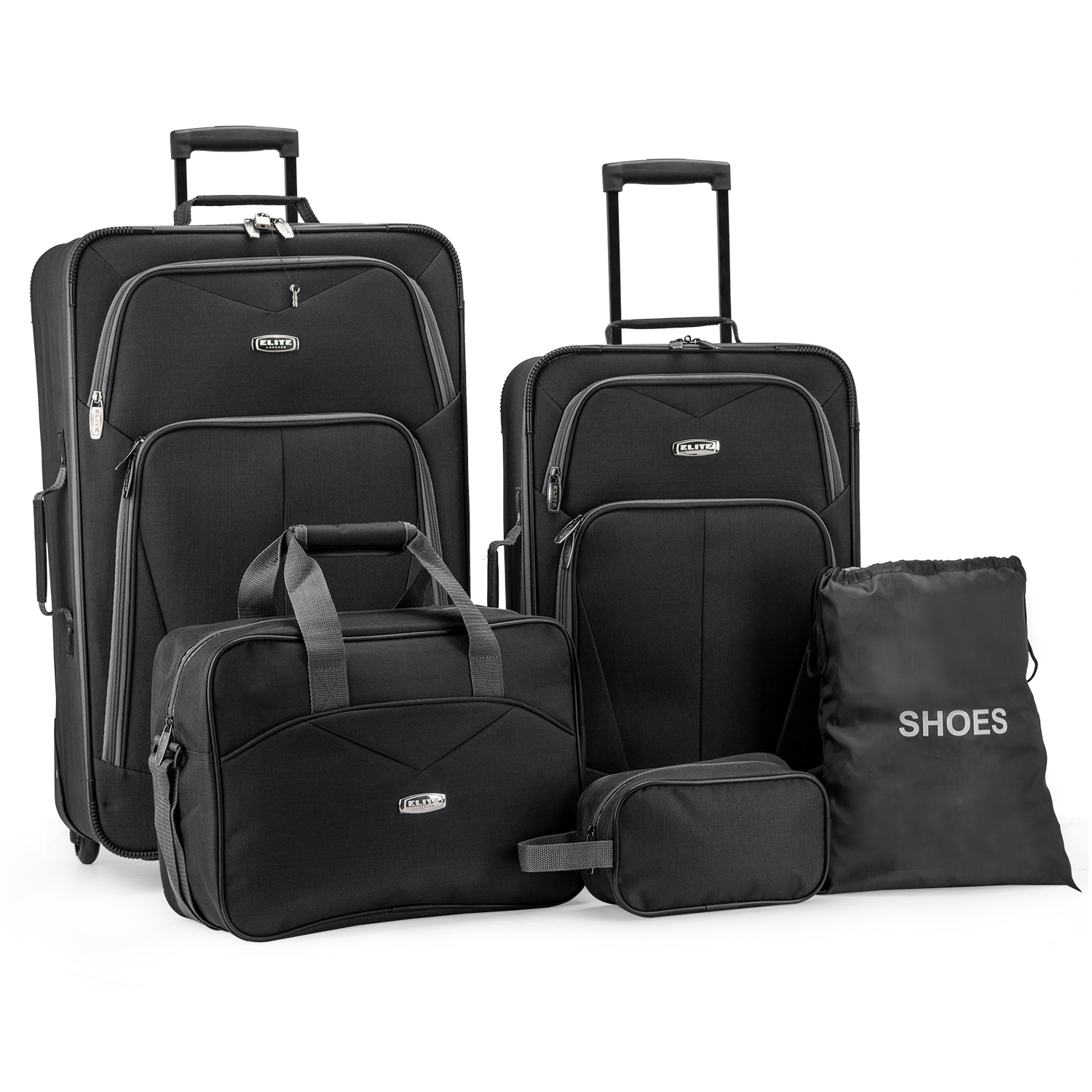 Elite Luggage Whitfield 5-Piece Softside Lightweight Rolling Luggage Set, Black