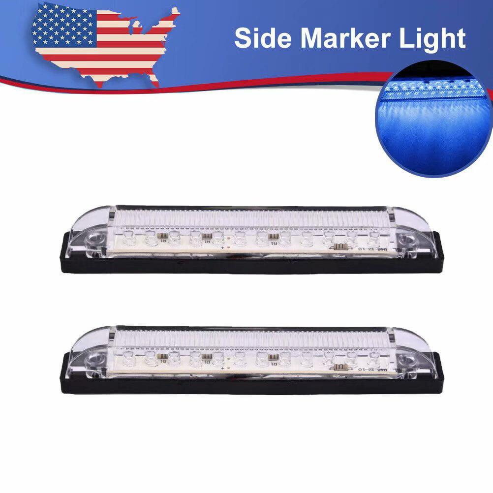 "2Pcs 6/"" Clear Lens Waterproof 12 LED RV Boat Blue Strip Light Sealed Vehicle 12V"