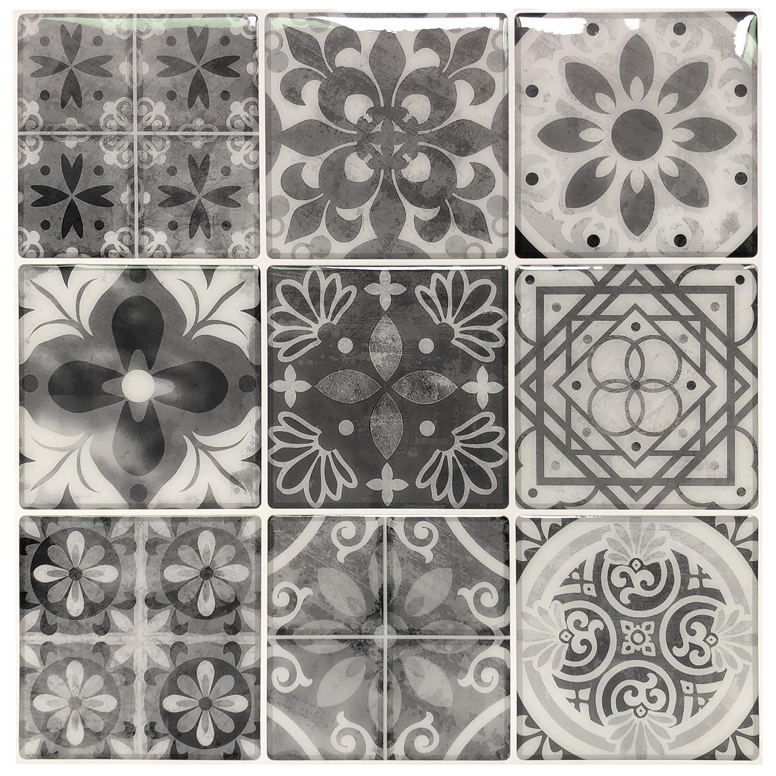 - 10 Sheets Peel And Stick Backsplash Tile Stickers In Gray Talavera Mexican  Tiles - Walmart.com - Walmart.com