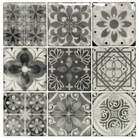10 Sheets Peel and Stick Backsplash Tile Stickers in Gray Talavera Mexican (Mexican Talavera Ceramic Tile)