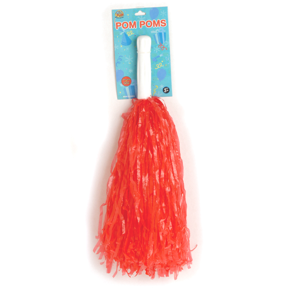 Team Color Bright Plastic Streaming 15 in Pom Poms, Red, 2 Pack