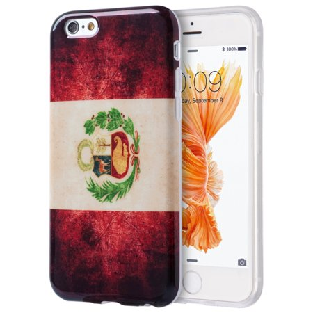Insten Patriotic Vintage Flag Series Imd TPU Rubber Skin Gel Case For Apple iPhone 6 / 6s - Peru - Halloween Series Imdb