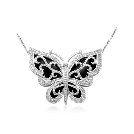 1/3 Carat T.W. Diamond Butterfly Pendant in Sterling Silver