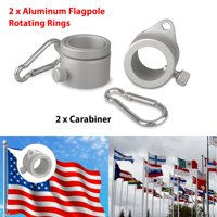 EEEKit 2 Pack Aluminum Alloy Flag Pole Rings, 360 Degree Rotating Flagpole Flag Mounting Rings Spinning Flag Pole Kit Mounting Ring Clip with Carabiner for 0.75-1 Inch Diameter Flagpole