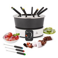 NutriChef PKFNMK26 - Cheese & Chocolate Fondue Maker - Electric Countertop Fondue Melting Pot Warmer with Dipping Forks