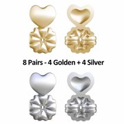 Earring Lifts 8 Pair Gold Silver Magic Back Support Stop Droop Or Sag