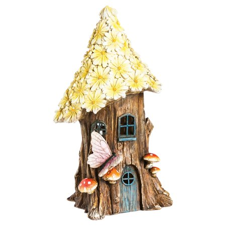 - Evergreen Enterprises Spring Petals Lighted Fairy House Garden Statue