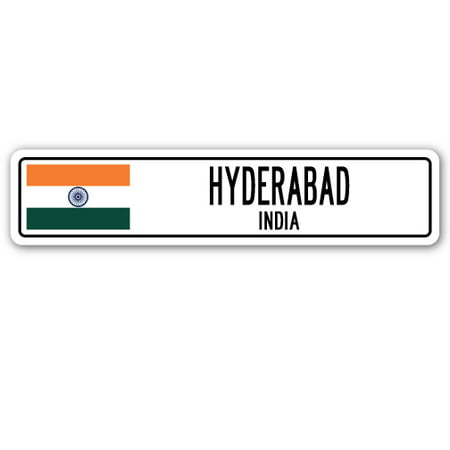 HYDERABAD, INDIA Street Sign Indian flag city country road wall