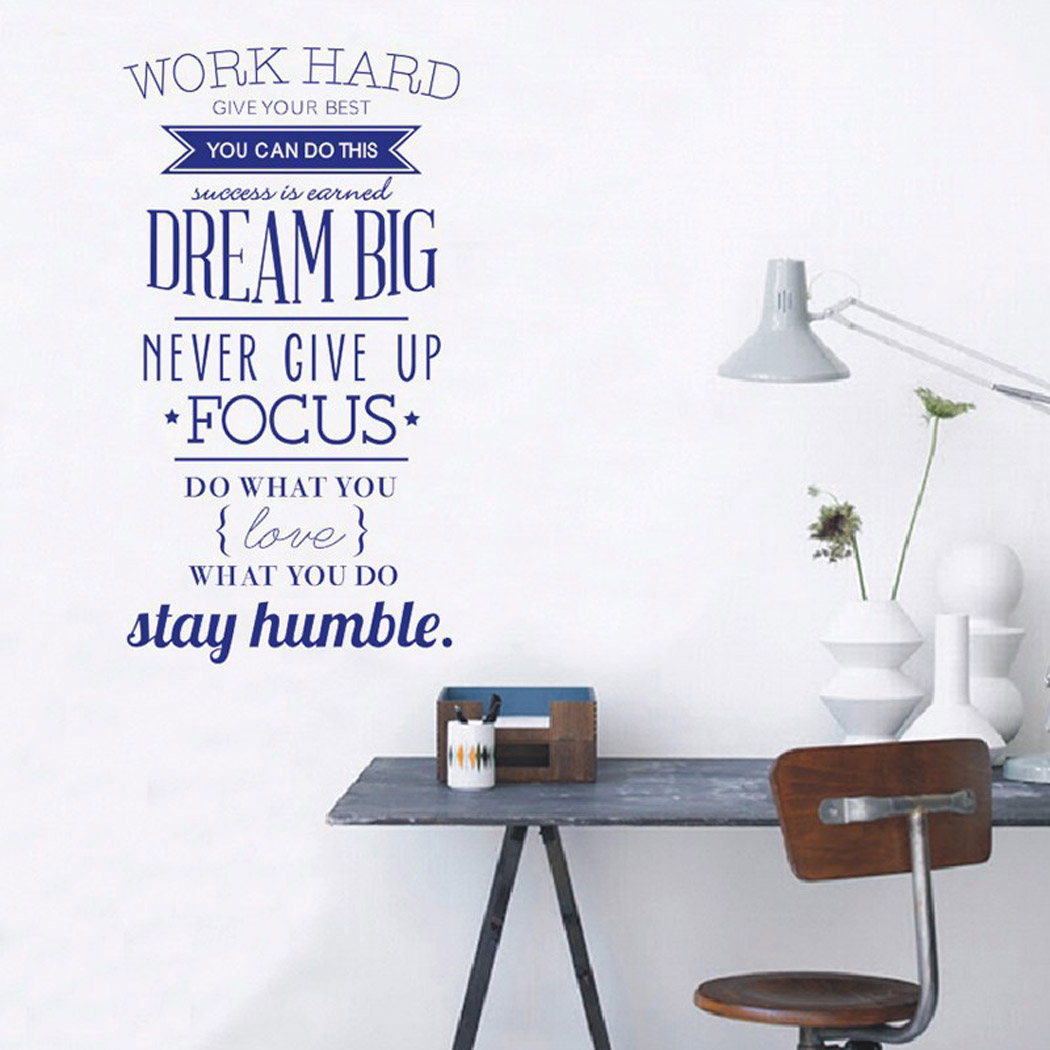 "Outgeek English Letter Wall Stickers ""Work Hard"" Wall Art Decals Quote Sticker for Home Living Room Bedroom Decor"