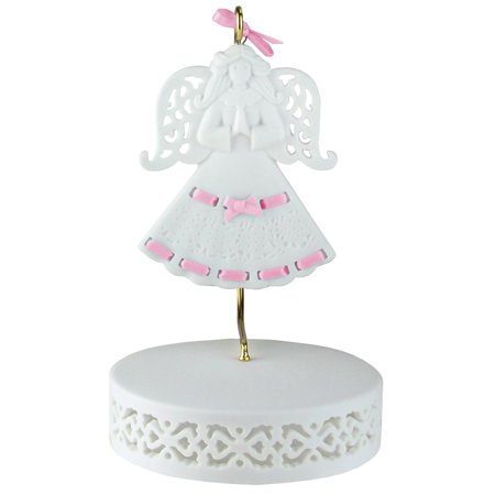 Pink Ribbon Porcelain Angel Ornament With Hanger and Base (Base Ornament)