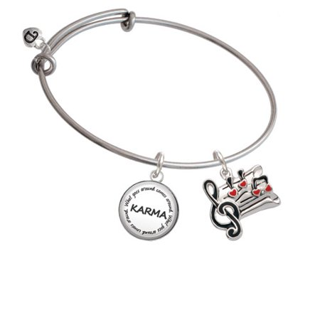 Music Sheet with Hearts Karma Bangle Bracelet