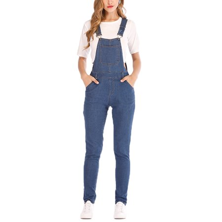 JDinms Women's Classic Adjustable Strap Denim Bib - Denim Bib Overall