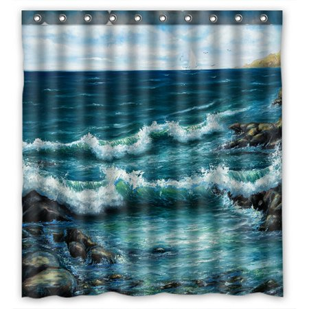 PHFZK Ocean Shower Curtain, Oil Painting Sea Wave and Ship Boat Polyester Fabric Bathroom Shower Curtain 66x72 inches ()