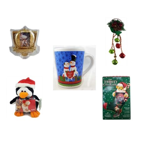 Pinecone Snowman - Christmas Fun Gift Bundle [5 Piece] - Hallmark Volleyball Photo Frame Ornament QXG4765 - Festive Holly Berry & Pinecone Door Knob Jingler - Happy s!