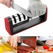 Amerteer Knife Sharpener for Straight and Serrated Knives, 3-Stage Diamond Coated Wheel System Kitchen Knife and Scissor Sharpeners, Sharpens Dull Knives Quickly, Safe and Easy to Use