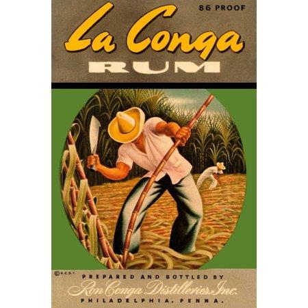 - La Conga Rum Stretched Canvas - Vintage Booze Labels (24 x 36)