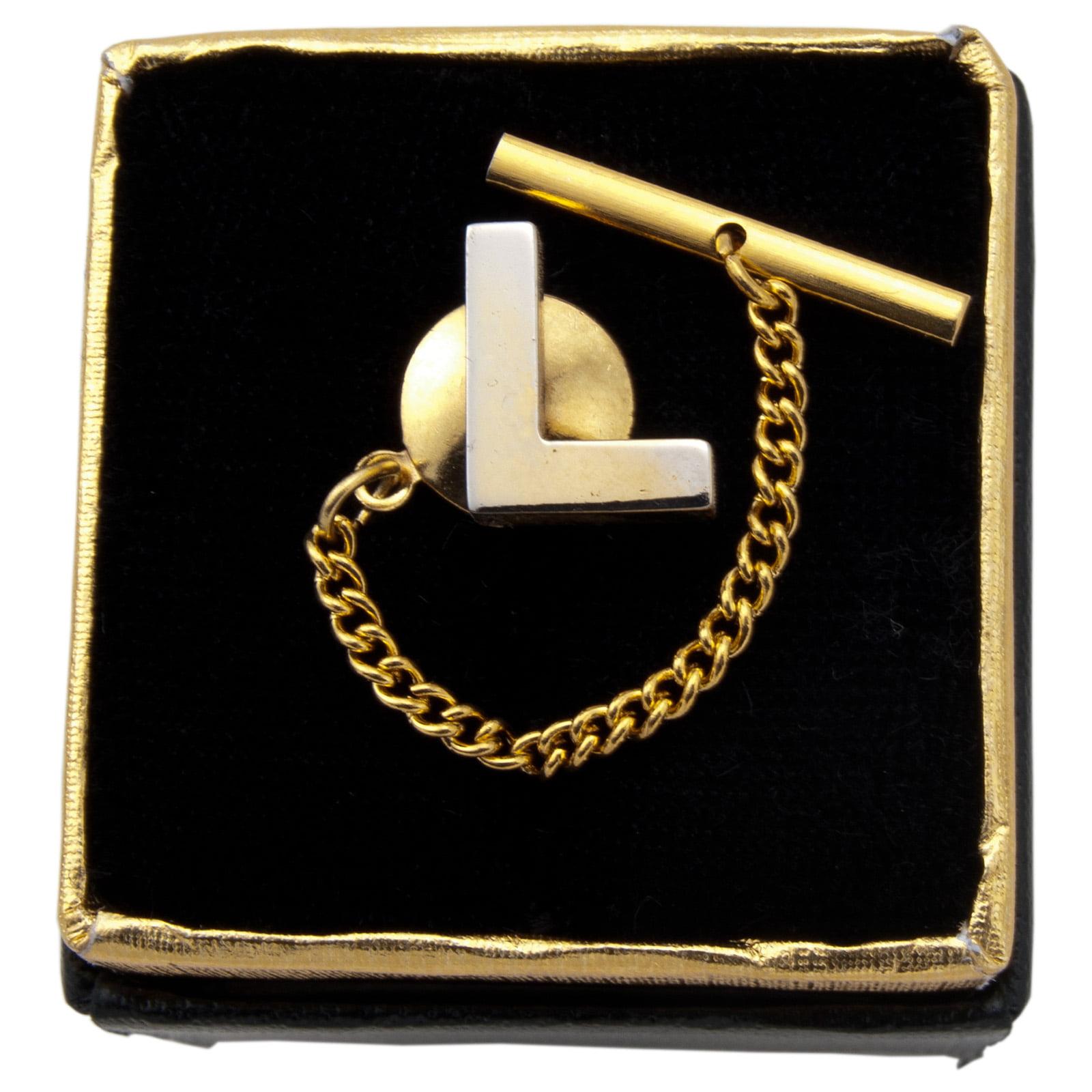 "Men's Gold Tone Tie Tack Tac Initial Block Letter ""L"" Boxed"