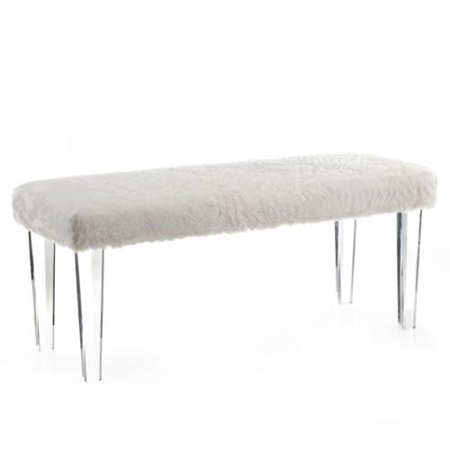 gia faux fur double bench with acrylic legs