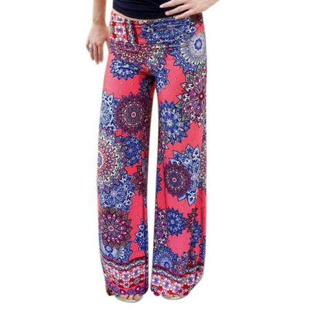 Ladies Floral Prints Elastic Waist Wide Leg Casual Pants Hot Pink L