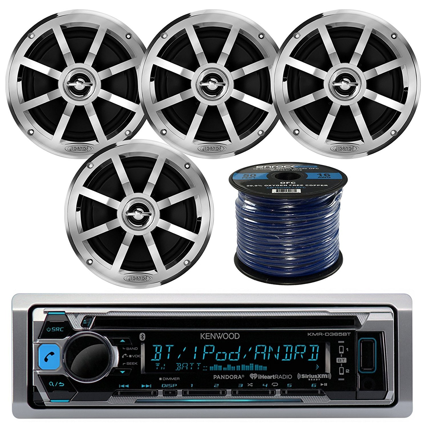 """Kenwood KMR-D365BT MP3/USB/AUX Bluetooth Marine Boat Yacht Stereo Receiver CD Player Bundle Combo W/ 4x Jensen MSX60CPR 6.5"""" Inch 2-Way Coaxial Speakers + Enrock 50 Foot 16g Speaker Wire"""