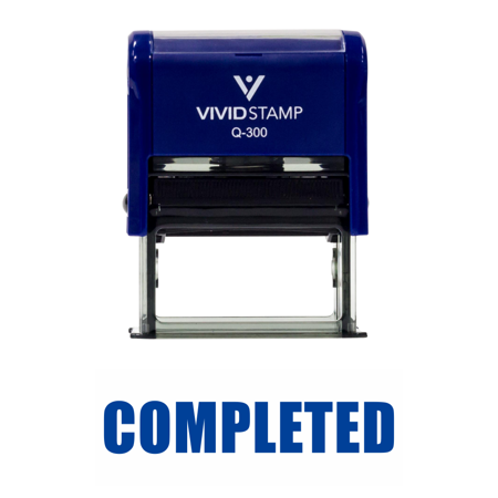 - Basic COMPLETED Self Inking Rubber Stamp (Blue Ink) Large