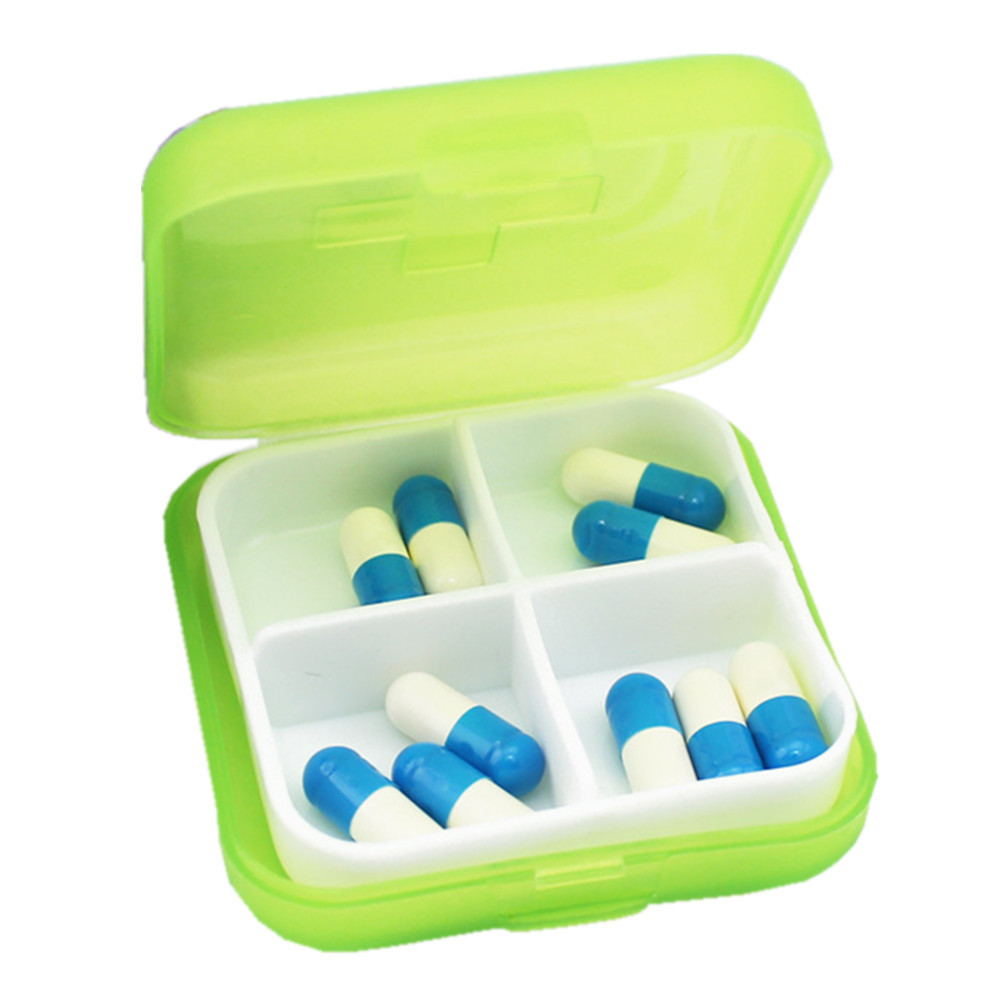 Mosunx Mini 4 Slots Portable Medical Pill Box Drug Medicine Case Organizer