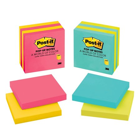 Post-it Pop-up Notes, 3 in x 3 in, Assorted Colors, 4 (Best Notes For Ipad)