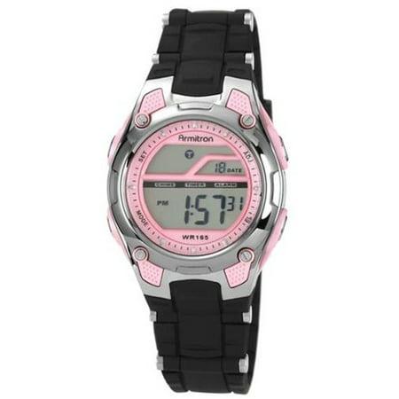 Armitron Sport Women's 456984PNK Pink and Black Chronograph Digital (Armitron Womens Swarovski Crystal)