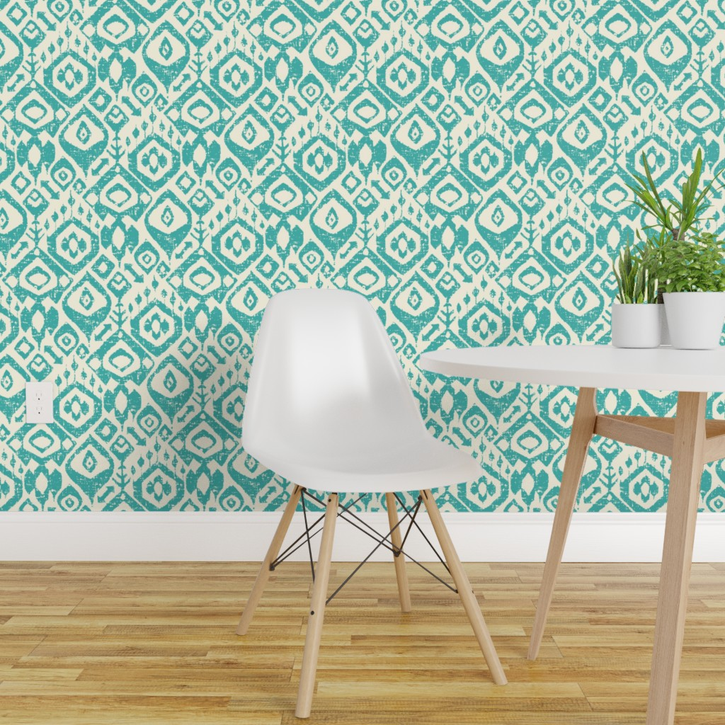 Peel And Stick Removable Wallpaper Sharon Turner Ikat Boho Bohemian Indian Walmart Com