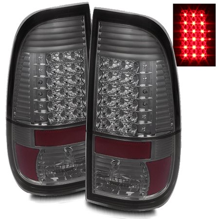 For 97-03 Ford F150/F250/99-07 F350/F450/F550 Smoke LED Tail Lights Rear  Brake Lamps Replacement Assembly Set