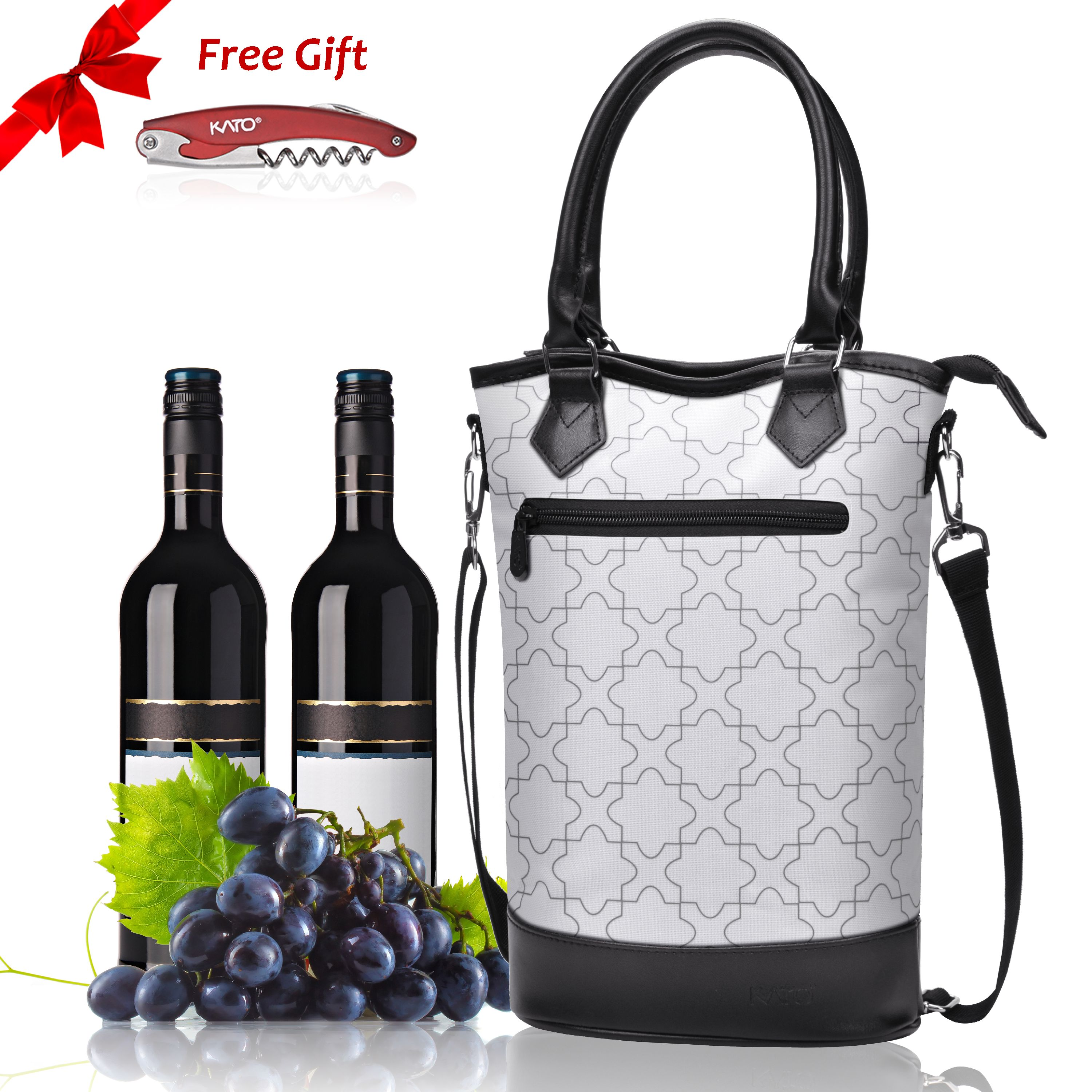 Kato Insulated Wine Tote Bag - Travel Padded 2 Bottle Wine/ Champagne Cooler Carrier with Handle and Shoulder Strap + Free Corkscrew, Great Wine Lover Gift