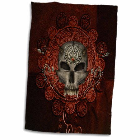 Awesome Skull Design - 3dRose Awesome skull with spider, tribal design - Towel, 15 by 22-inch