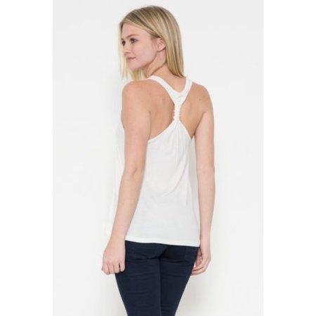 Twist Back Tank (Kaylee_xo Women Sleeveless Knot Twist Back Solid Loose Relaxed Tank Top Shirt)