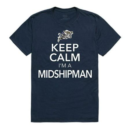 United States Naval Academy Midshipmen Keep Calm Tee T-Shirt Navy Large (Navy Midshipmen Naval Academy)