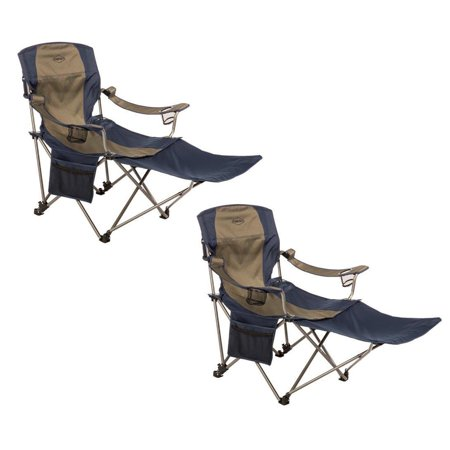 Kamp-Rite Outdoor Folding Tailgating Camping Chair Detachable Footrest (2 Pack)