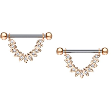 Nipple rings CZ Set Linked Feather Dangle 316L Surgical Steel