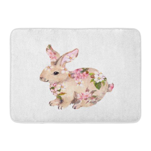 Godpok Watercolour Bunny Cute Rabbit In Flowers Watercolor Animal Vintage Rug Doormat Bath Mat 23 6x15 7 Inch Walmart Com Walmart Com