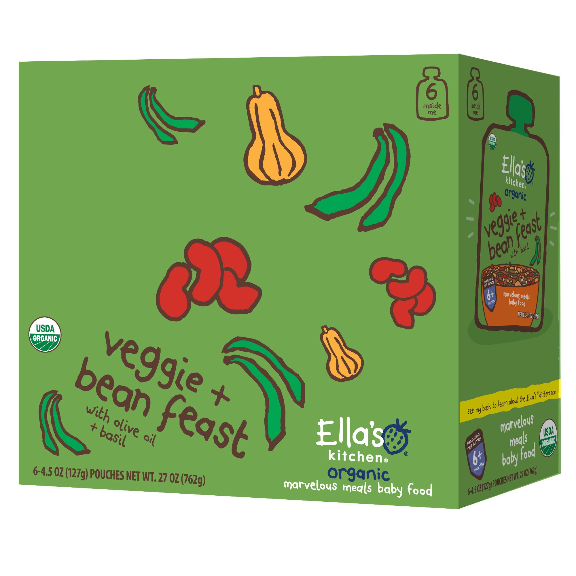 Ella's Kitchen 6+ Months Organic Baby Food, Four Bean Feast, 4.5 oz. (Pack of 6)