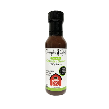 Fat Free Sweet - Simple Girl Organic Country Sweet 12oz (Low Sugar, Low Carb, BBQ Sauce, No Sugar Added, Gluten Free, Non GMO, 0 Fat)