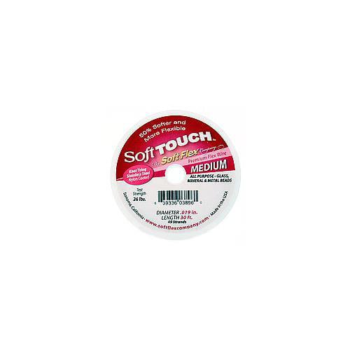 Soft Flex, Soft Touch 49 Strand Medium Beading Wire .019 Inch Thick, 30 Feet, Satin Silver