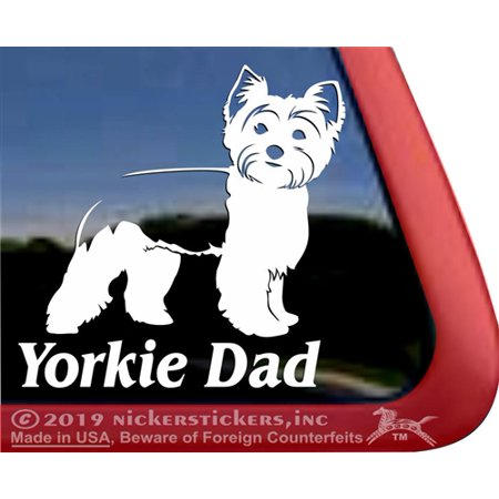 Yorkie Dad | High Quality Vinyl Yorkshire Terrier Dog Window (Terrier Dog Vinyl Decal Sticker)