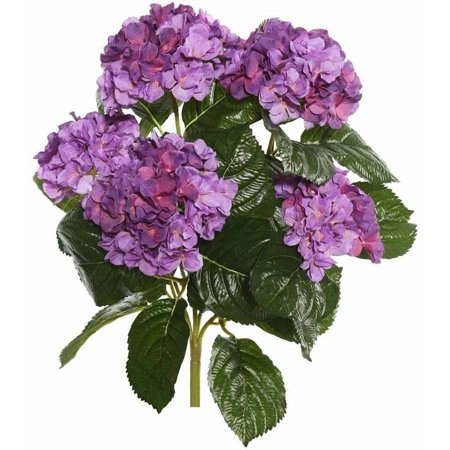 "Vickerman 17.5"" Lavender Polyester Hydrangea Bush with 30 Leaves and 204 Flowers"