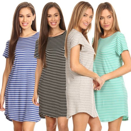 (Striped Short Sleeve Tunic T-Shirt Dress)