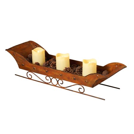 Rustic Metal Sleigh Candle Holder (Candles Included)