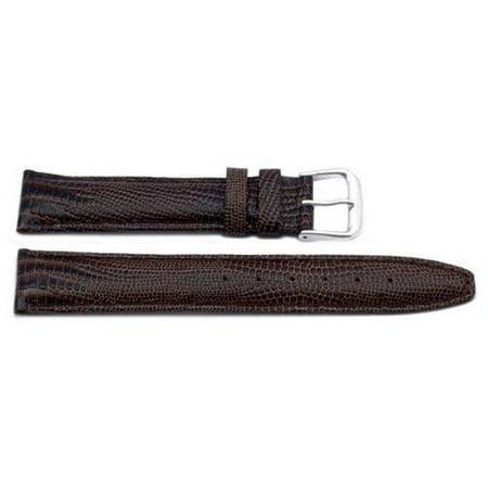 18mm Genuine Leather Lizard Grain Brown Watch Strap